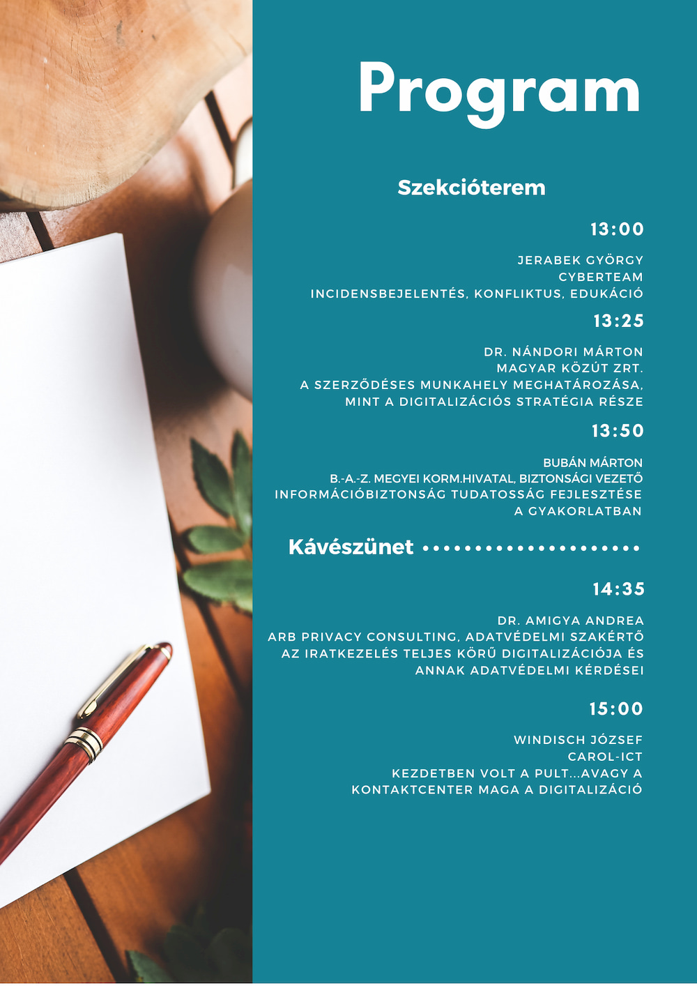 Digitalize now! 2019 - Program - Szekcióterem